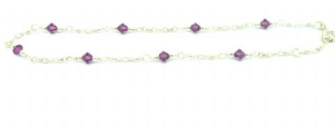 Sterling Silver 925 Purple Bead and Trace Chain Ankle /Anklet Chain